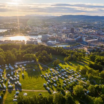 Fin solnedgang over Oslo og Ekeberg Camping